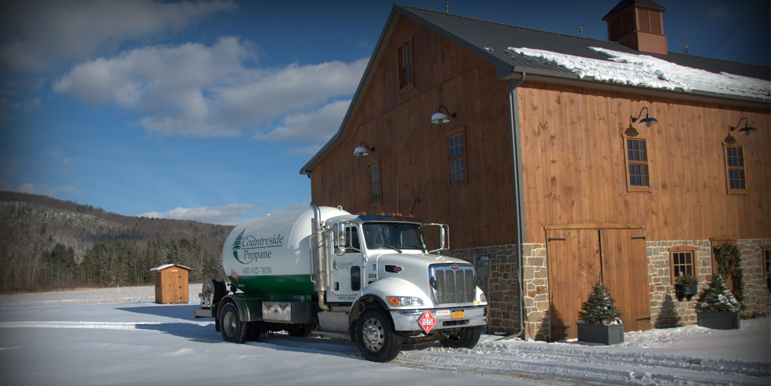 Countryside Propane Delivery Truck Providing Fuel for a New Customer in NY or PA