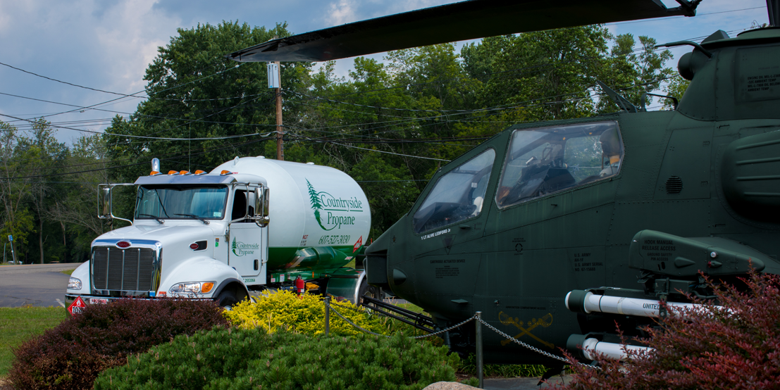 Propane Truck Delivering to New York or Pennsylvania Commercial Business